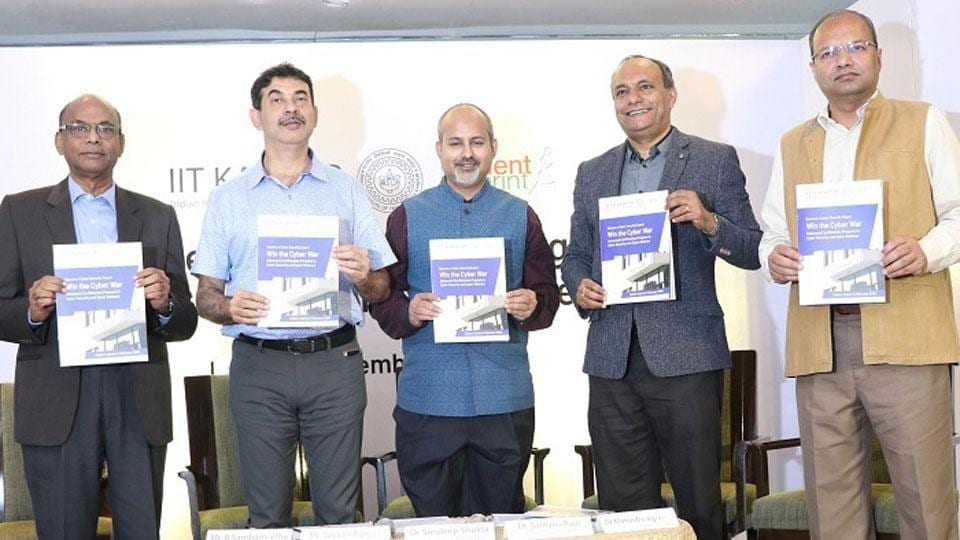 (L-R) Shri. B Sambamurthy, Independent Director, National Securities Depository Ltd.; Shri Jayesh Ranjan, IT Secretary, Govt. of Telangana; Dr. Sandeep Shukla, Professor, IIT Kanpur; Dr. Santanu Paul, Co-Founder & CEO, TalentSprint & Dr. Manindra Agrawal, Professor, IIT Kanpur; releasing the brochure of IIT Kanpur and TalentSprint partnership for the development of Cyber Security Experts to Combat Cyber Threats.