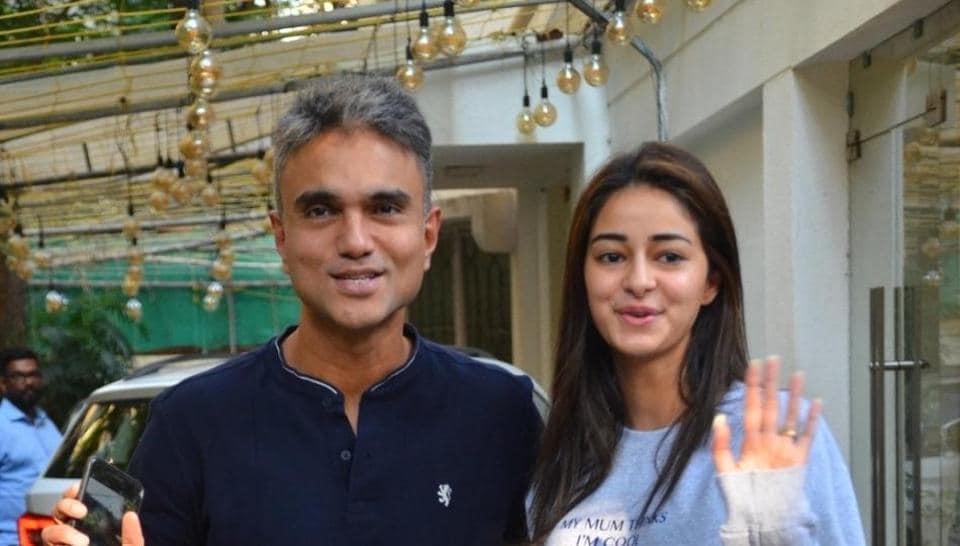 Mudassar Aziz and Ananya Pandey seen at a recording studio in Juhu.