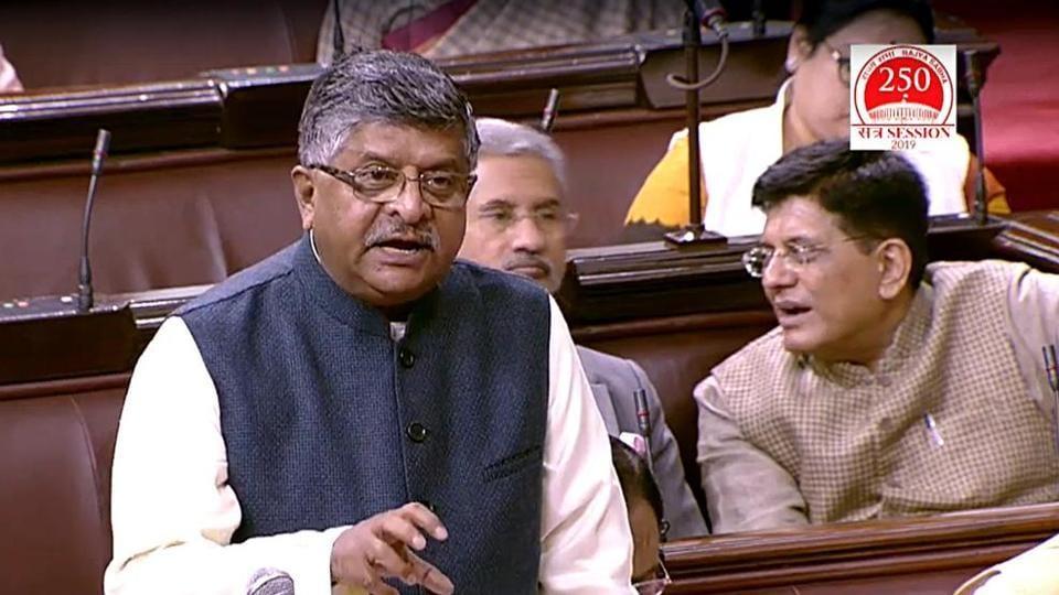 Union Minister Ravi Shankar Prasad speaks in Rajya Sabha during the winter session of parliament, in New Delhi.