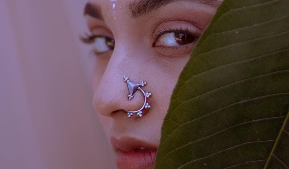 Modern statement pieces, like this one from designer Bhavya Ramesh, are giving nose-pins a funky contemporary spin.