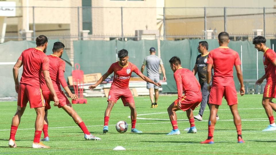 India football team in action.