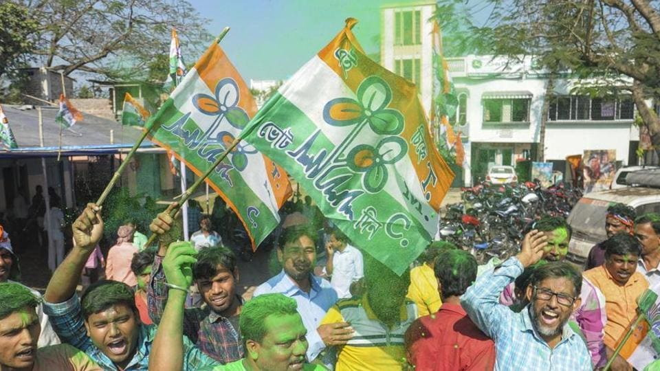TMC supporters celebrate in Nadia on Thursday.