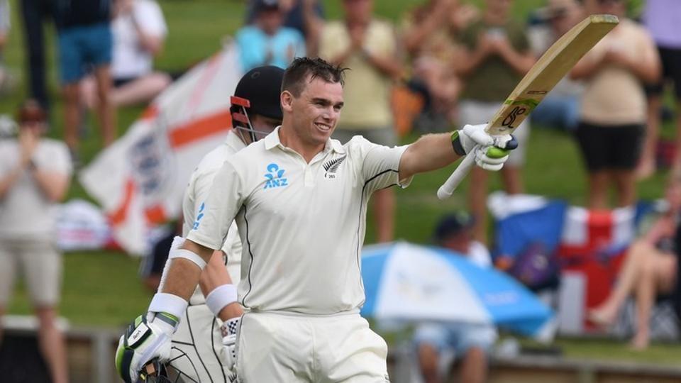 New Zealand's Tom Latham celebrates his century.
