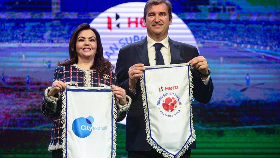 Football Sports Development Limited (FSDL) chairperson Nita Ambani and City Football Group CEO Ferran Soriano.
