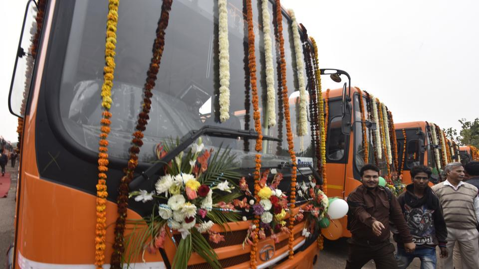 An outside view of the new ultra modern cluster buses, at Rajghat Bus Depot, in New Delhi.