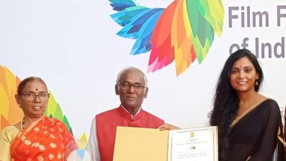 Usha Jadhav poses with Silver Peacock Award for Best Female Actor at the 2019 International Film Festival of India that she received for Mai Ghat.