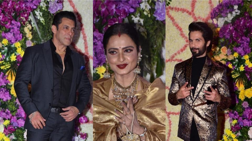 Bollywood stars attended the grand reception of Sooraj Barjatya's son in Mumbai.