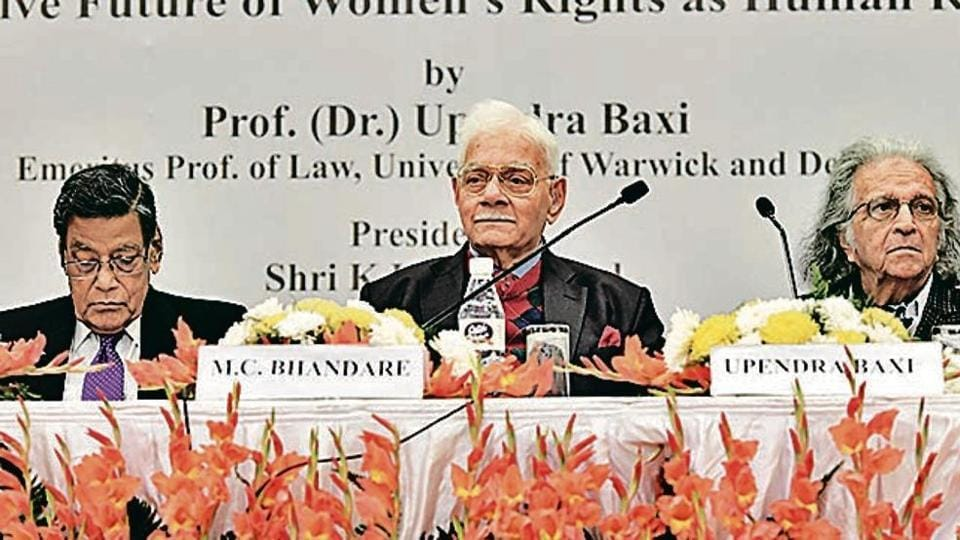 Attorney General KK Venugopal, advocate Murlidhar C Bhandare and Emeritus Prof of Law Dr Upendra Baxi at the 25th Justice Sunanda Bhandare lecture on Friday.