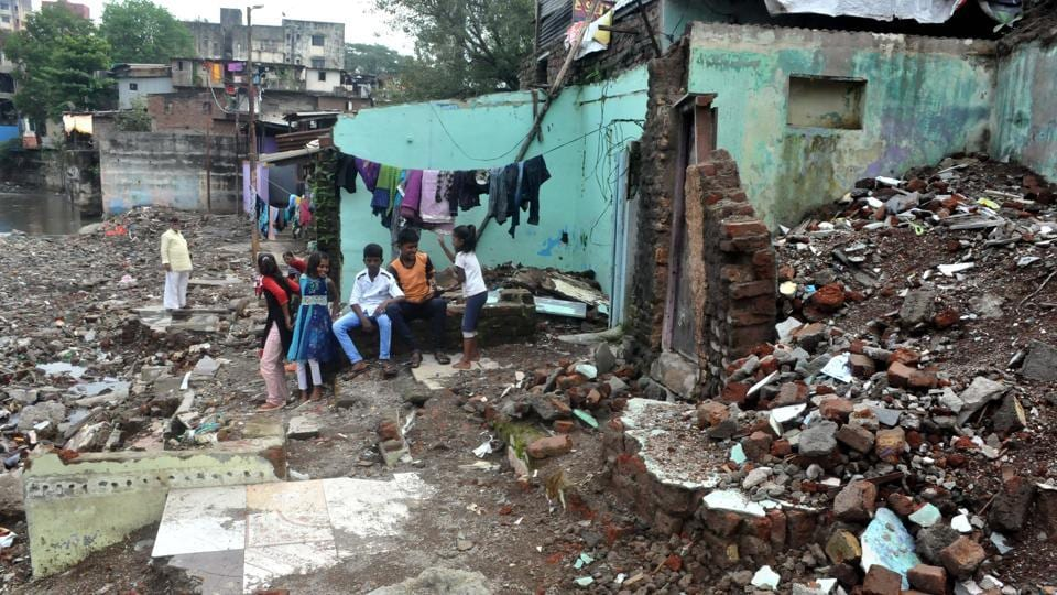 On September 25, heavy rain triggered flash flood in parts of south Pune, claiming 26 lives. (In picc) Destroyed homes at Ambil Odha near Dandekar Bridge.