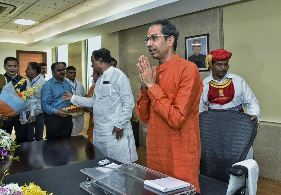 Maharashtra Chief Minister Uddhav Thackeray arrives to take charge of his office at Mantralaya in Mumbai.
