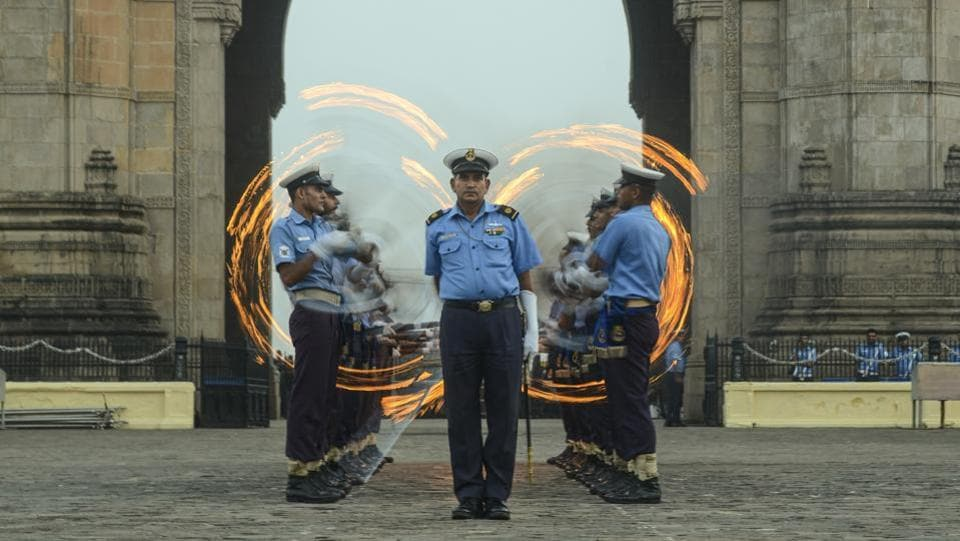 Indian Navy soldiers rehearse for Navy day celebrations near Gateway of India at Colaba, in Mumbai, Maharashtra. (Ragul Krishnan / HT Photo)