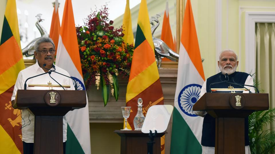 Prime Minister Narendra Modi and Sri Lankan President Gotabaya Rajapaksa address a joint statement after their meeting, at Hyderabad House, in New Delhi.