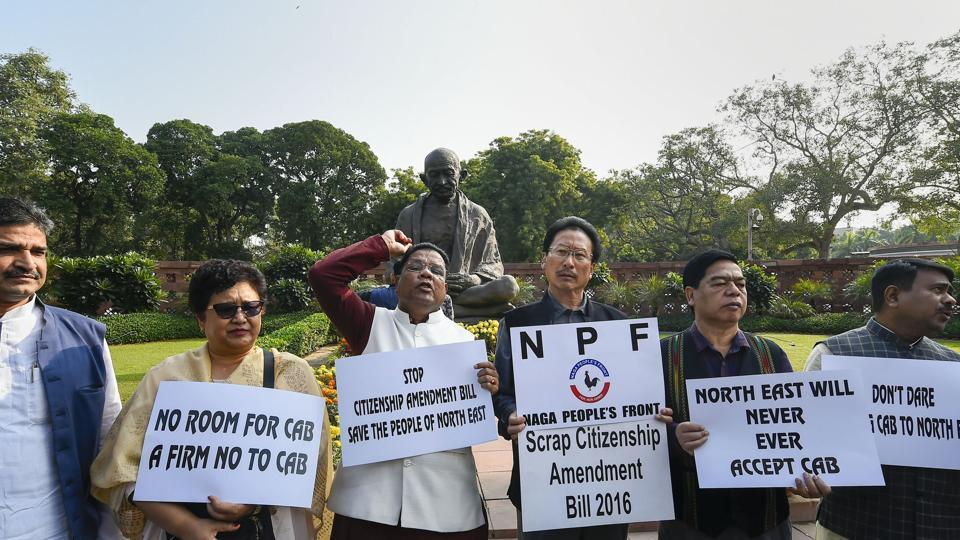 Congress MPs from northeast and Naga People's Front MPs protest against the Citizenship Amendment Bill at Parliament during the ongoing Winter Session, in New Delhi.