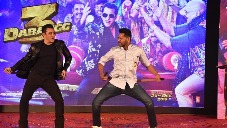 SalmanKhan and Prabhudeva shake a leg at the launch of the song, Munna Badnaam Hua, fromDabangg 3.