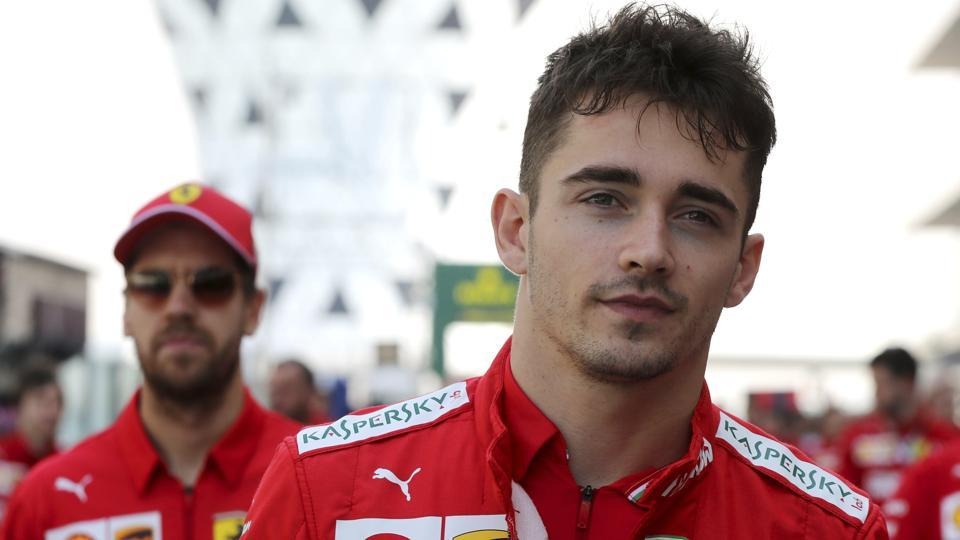 Ferrari driver Charles Leclerc of Monaco is followed by his teammate Sebastian Vettel.