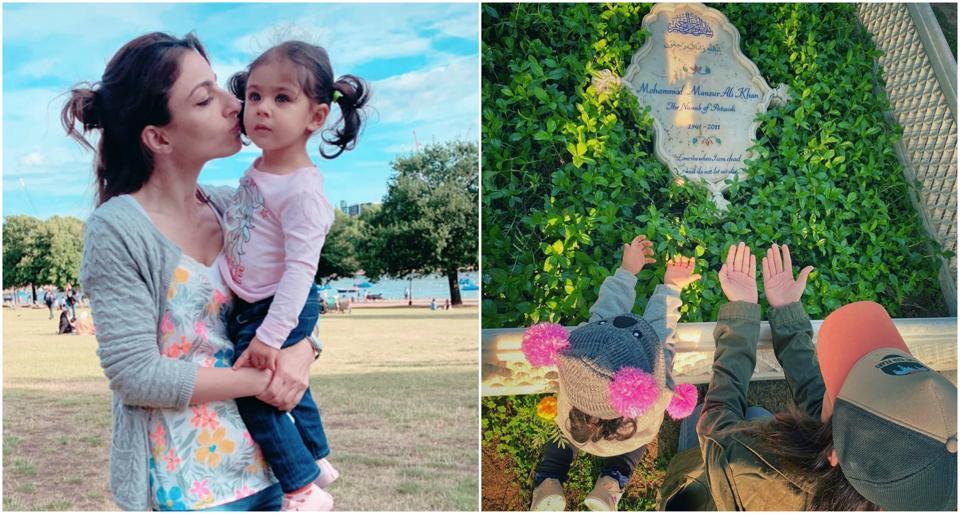 Soha Ali Khan and Inaaya Naumi Kemmu visited Mansoor AliKhan Pataudi's grave at Pataudi Palace.