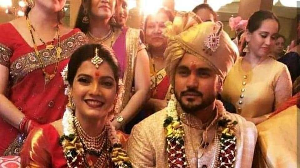 Indian cricketer Manish Pandey with his wife actress Ashrita Shetty