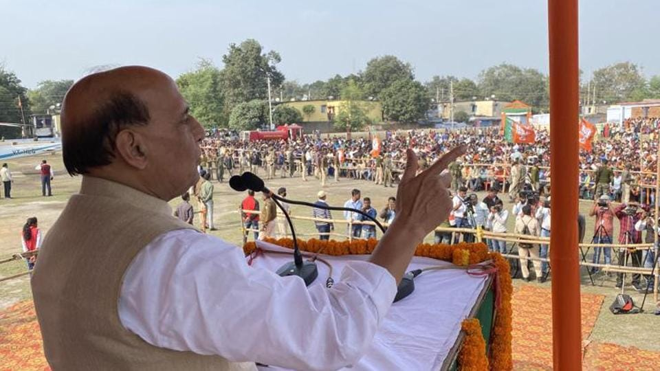 Defence Minister Rajnath Singh speaks during an election campaign rally for Jharkhand Assembly polls.
