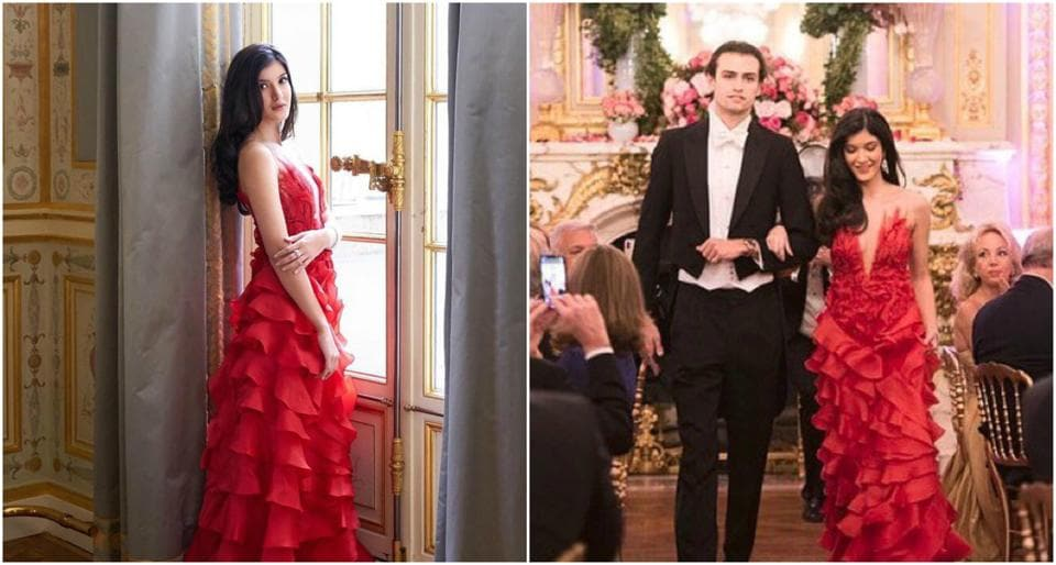 Shanaya Kapoor wore a red ruffled gown at the 22nd le Bal des Débutantes.