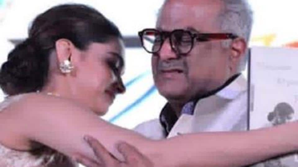 Deepika Padukone and Boney Kapoor at the launch event of Sridevi: The Eternal Screen Goddess.