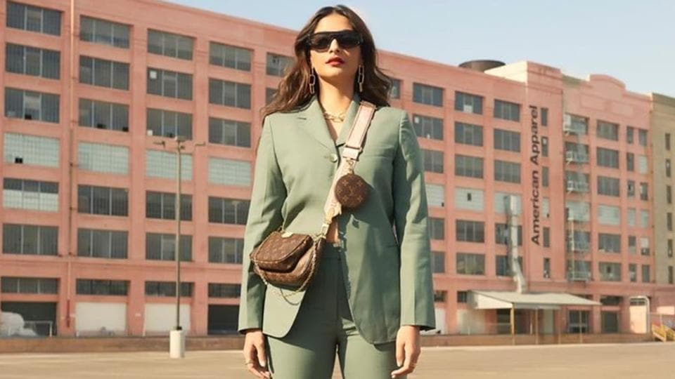 Sonam chose a pastel sea green suit while on a trip to Los Angeles with sister and stylist Rhea Kapoor. Sonam paired the 3.1 Phillip Lim outfit with a bag by Louis Vuitton that she slung across her chest. She also wore black sandals. Golden chain link earrings and black shades completed the look. (iNSTAGRAM)