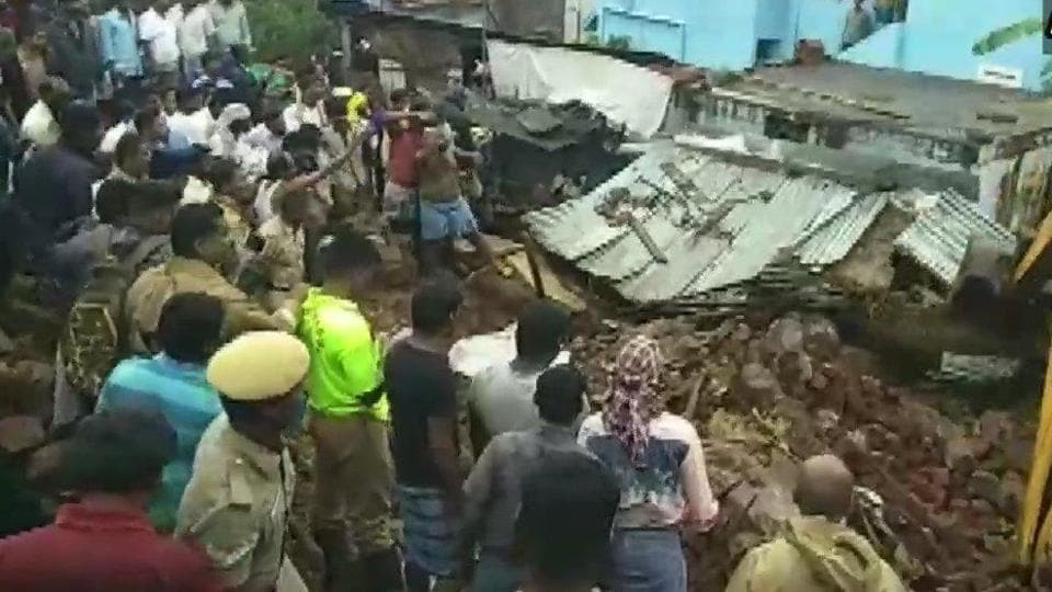 The compound wall collapsed on four houses at Nadur in Tamil Nadu's Mettupalayam due to heavy rains.