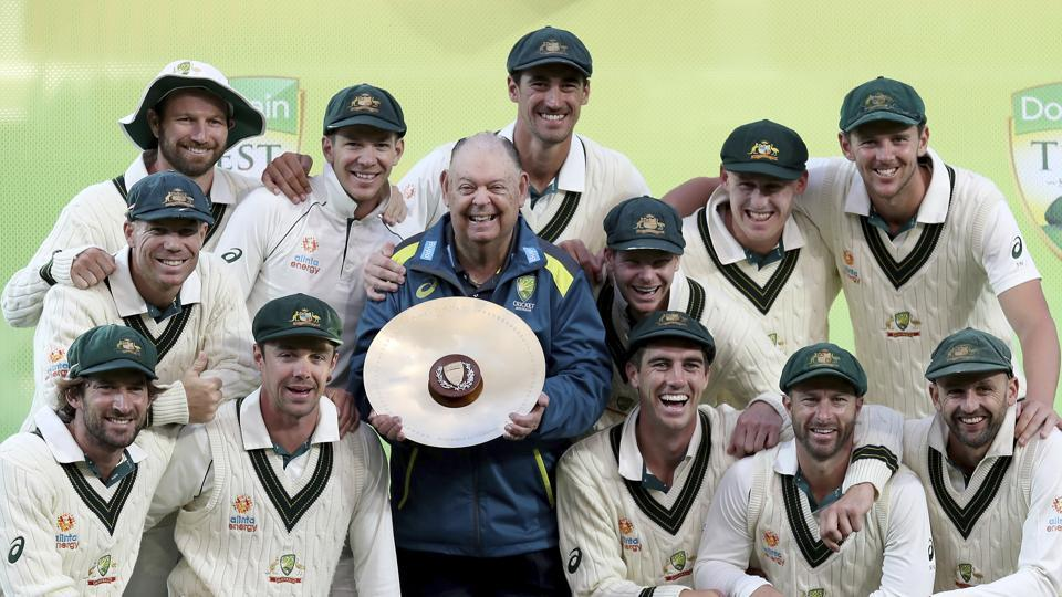 Australia celebrates their series win over Pakistan after their cricket test match in Adelaide.