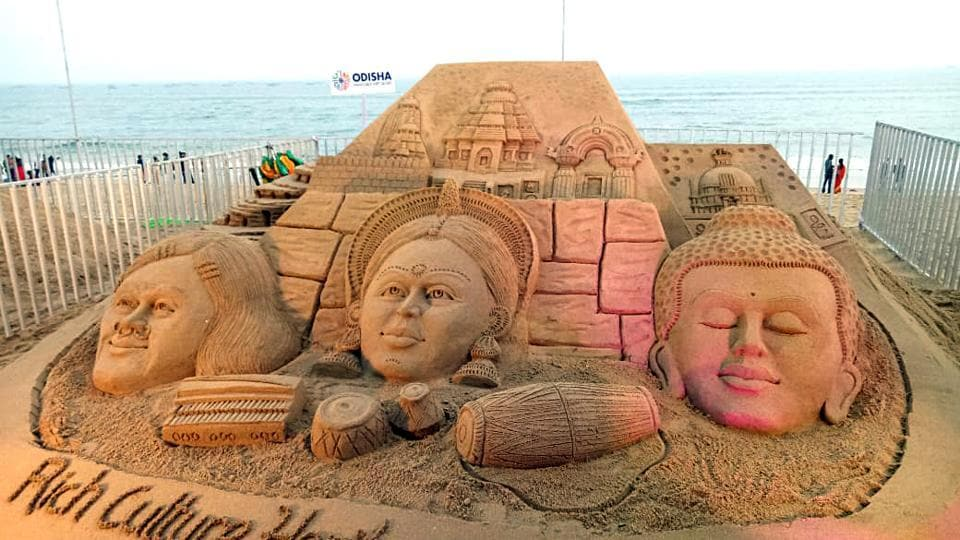 The International Sand Art Festival has started at Chandrabhaga beach in Konark on Sunday. 123 artists from across India & artists from the USA, Ireland, Denmark, Russia, Canada, Togo & Sri Lanka are participating in Sand Art Festival.