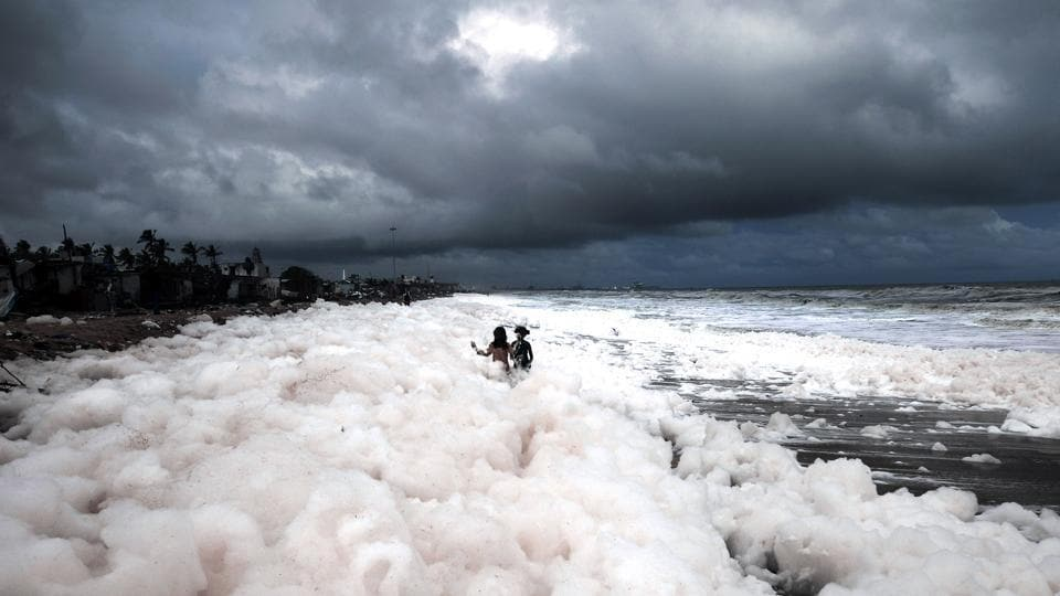 Children play in toxic foam at Marina Beach in Chennai. A menacing white foam covered one of India's most famous beaches in Chennai for the fourth straight day on Monday, creating a new pollution hazard for the country. (ANI)
