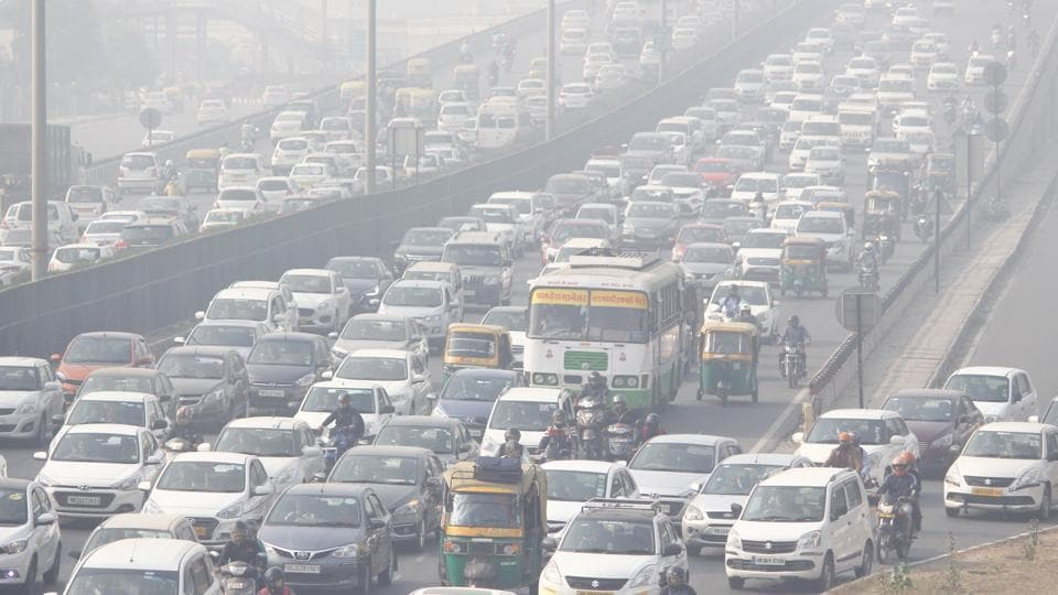 Vehicles seen at Delhi-Gurugram Expressway amid heavy smog, in Gurugram.