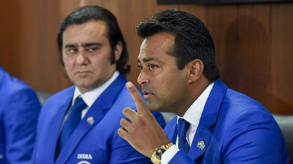 Leander Paes(R) and non-playing captain Rohit Rajpal addresses a press conference at DLTA, in New Delhi.