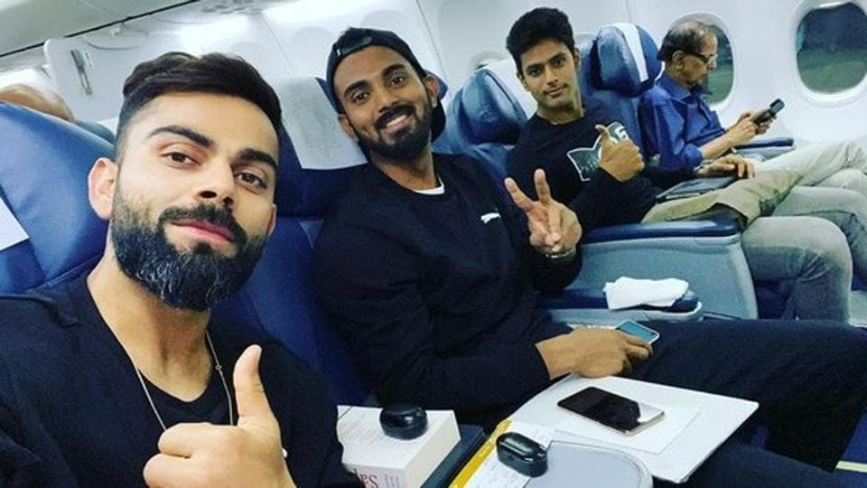 (L to R) Virat Kohli, KL Rahul and Shivam Dube.