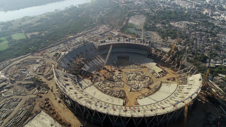 Aerial shot of the under construction Sardar Patel Stadium in Motera, Ahmedabad.