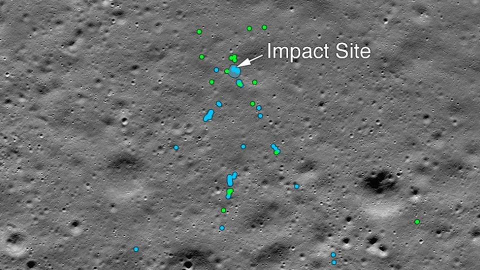 "This image released by NASA shows the Vikram Lander impact point and associated debris field. Green dots indicate spacecraft debris (confirmed or likely). Blue dots locate disturbed soil, likely where small bits of the spacecraft churned up the regolith. ""S"" indicates debris identified by Shanmuga Subramanian , the Indian engineer."