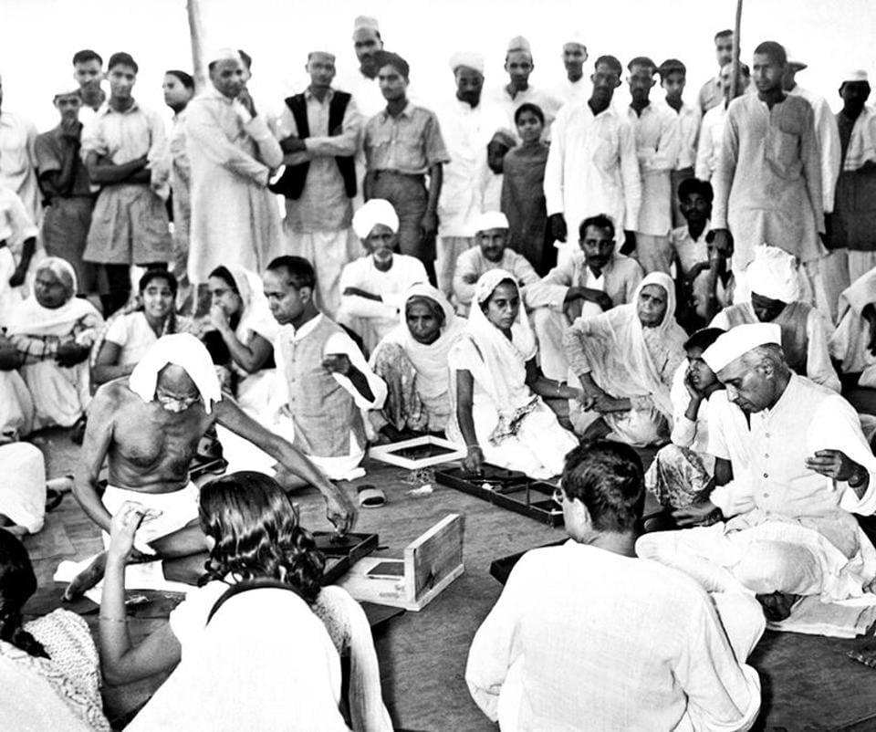 Mohandas Karamchand Gandhi and former Prime Minister Jawaharlal Nehru at a Charkha demonstration in New Delhi in April 1946. For Gandhi, the charkha was a symbol of self-reliance