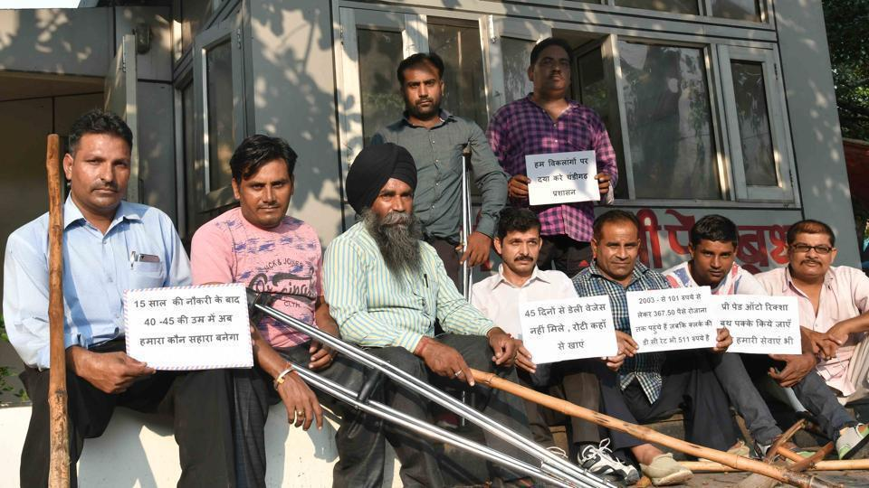 Differently abled people who had applied for Group D jobs with the railways have been protesting at Mandi House since last week. (Representational image)