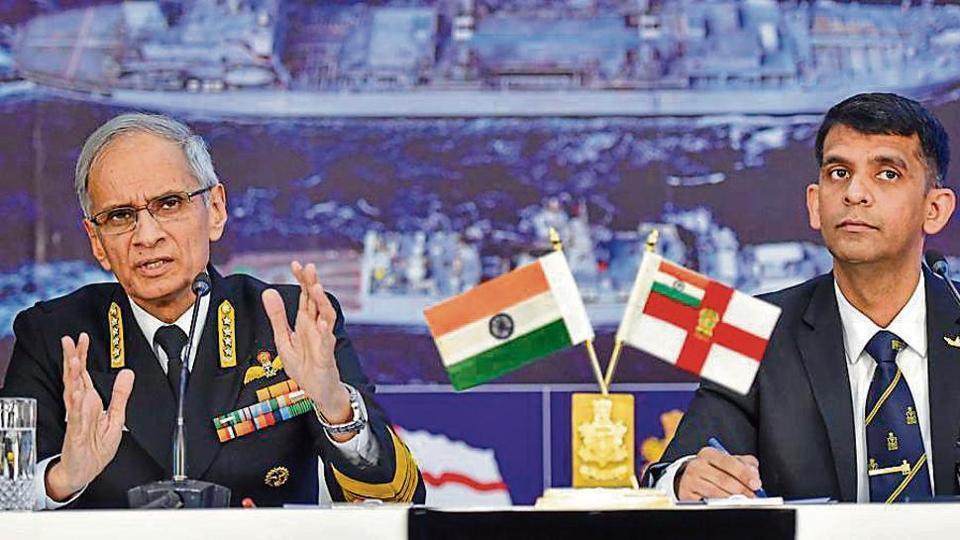 Chief of Naval Staff, Admiral Karambir Singh, with Navy spokesperson, Commander Vivek Madhwal, in New Delhi on Tuesday.