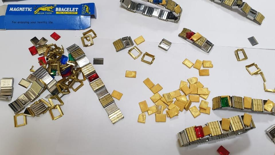 The smuggled gold was moulded in the form of wires concealed in toys and parts of bracelets.