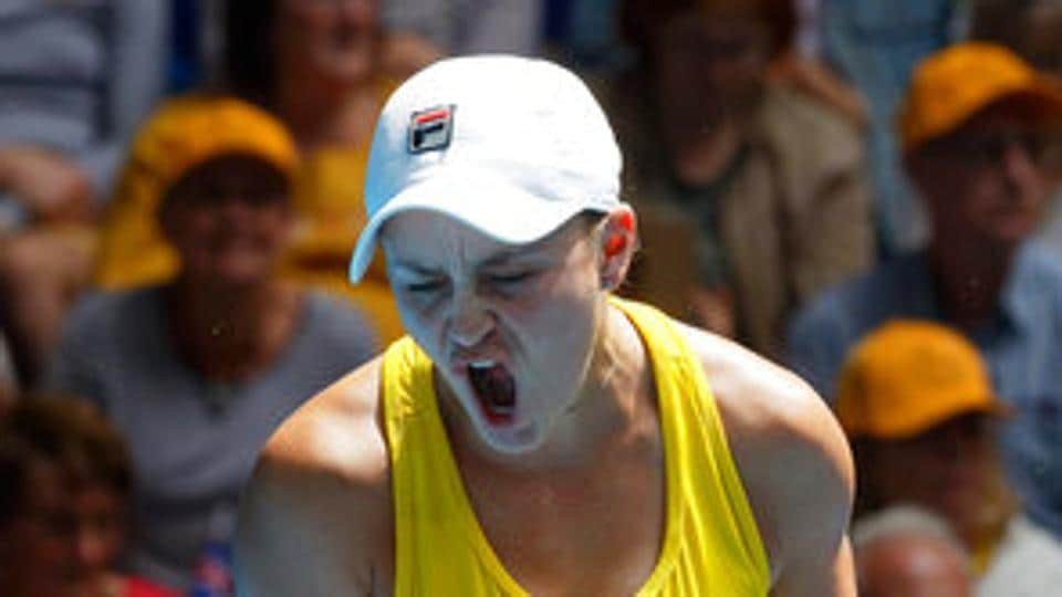 Australia's Ash Barty reacts during a match.