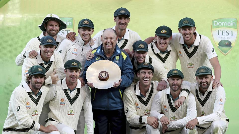 Adelaide: Australia celebrates their series win over Pakistan after their cricket test match in Adelaide, Monday.