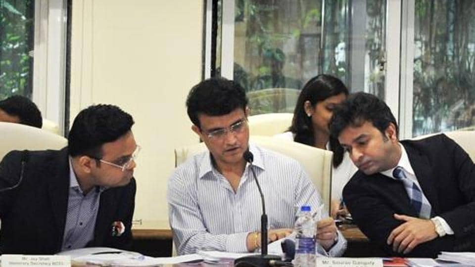 File image: Board of Control for Cricket in India (BCCI) president Sourav Ganguly with BCCI Secretary Jay Shah and Treasurer Arun Singh Dhumal.