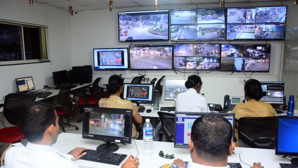 A view of the police control room, as the police check the CCTV cameras in Pune.