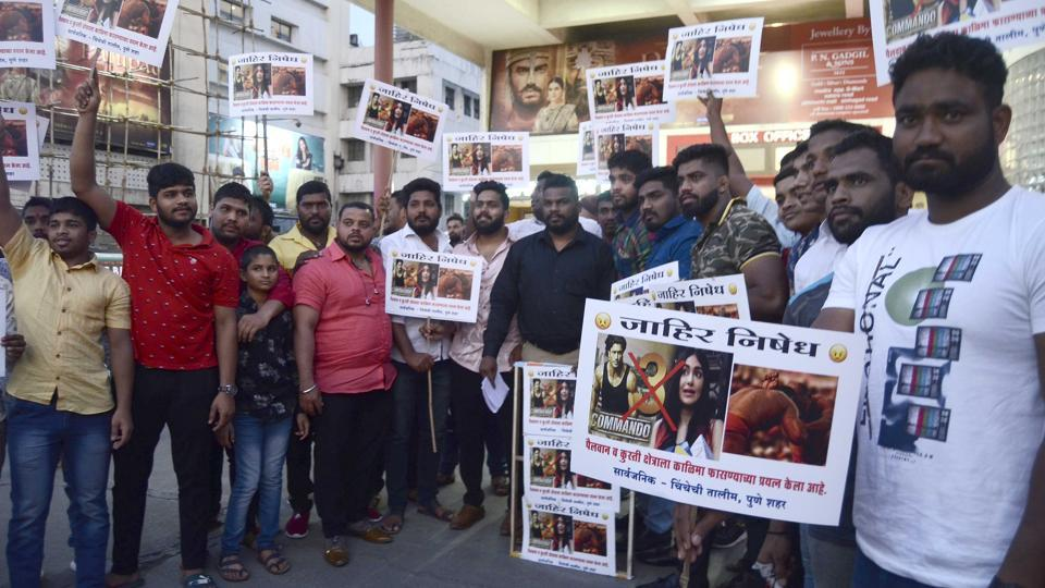 Wrestlers from Chinchechi Talim akhada, Pune staged a protest outside City Pride theatre against an introductory scene from actor Vidyut Jamwal's film Commando 3, on Monday.