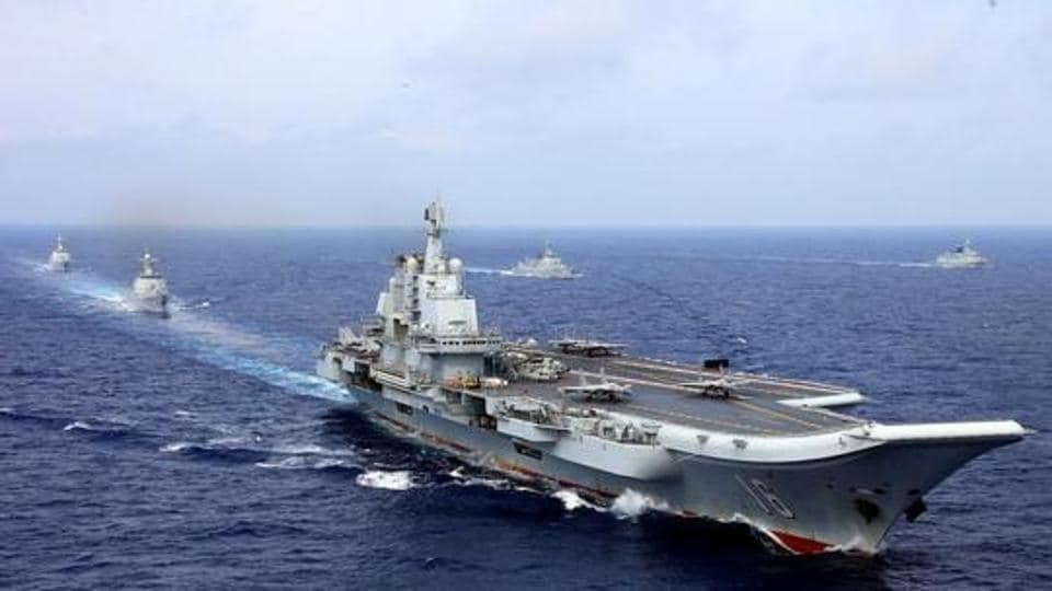 China's aircraft carrier Liaoning takes part in a military drill oin the western Pacific Ocean, April 18, 2018.