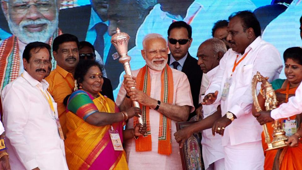 The Tamil Nadu unit of the BJPhas been without a chief since Tamilisai Soundararajan  (on PMNarendrra Modi's right)was appointed governor of Telangana in September.