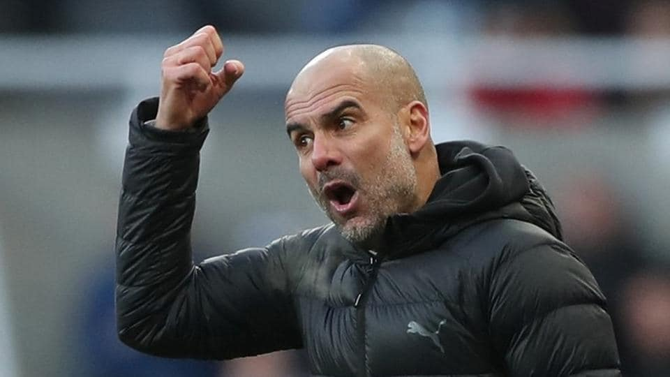 Manchester City manager Pep Guardiola reacts