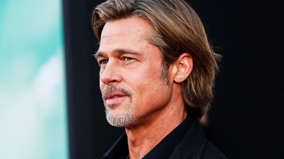 Brad Pitt poses at the premiere for the film Ad Astra in Los Angeles.