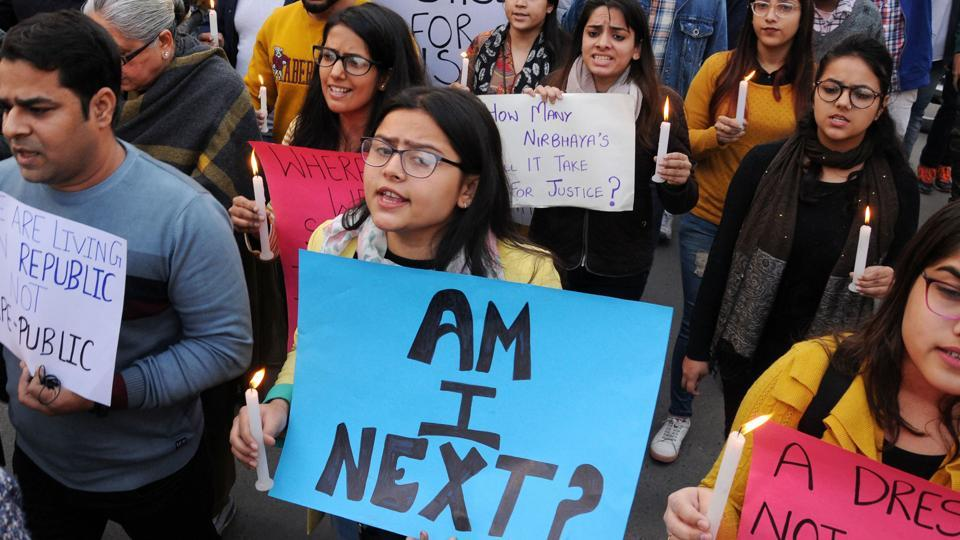 Students and members of Voice of Amritsarhold placards during a protest demandingjusticefor the rape and murder of a 25-year-old veterinarian, in Hyderabad.