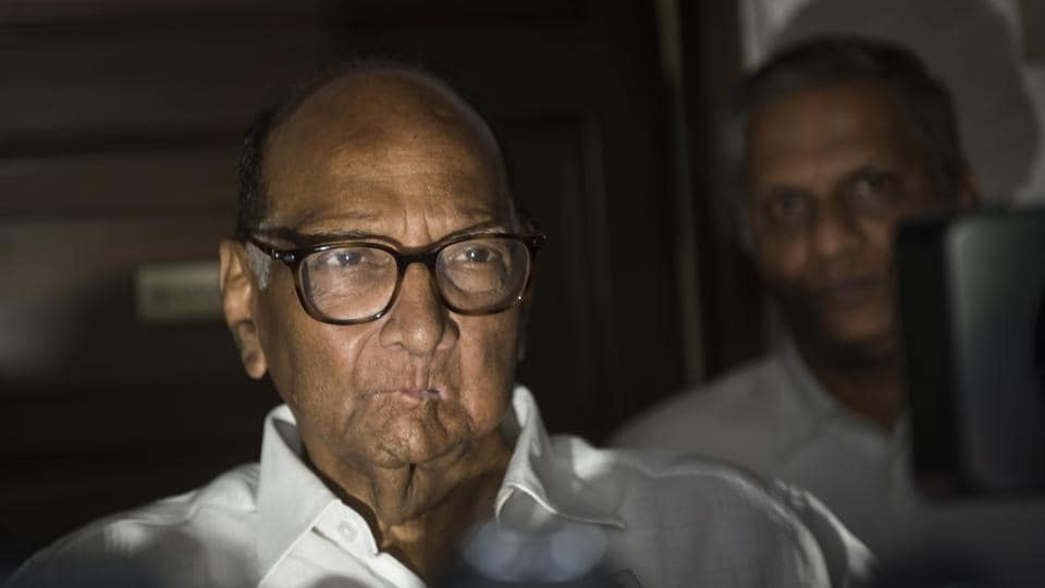 Sharad Pawar talks to media after meeting with Ajit Pawar at his residence in Mumbai in September 2019.