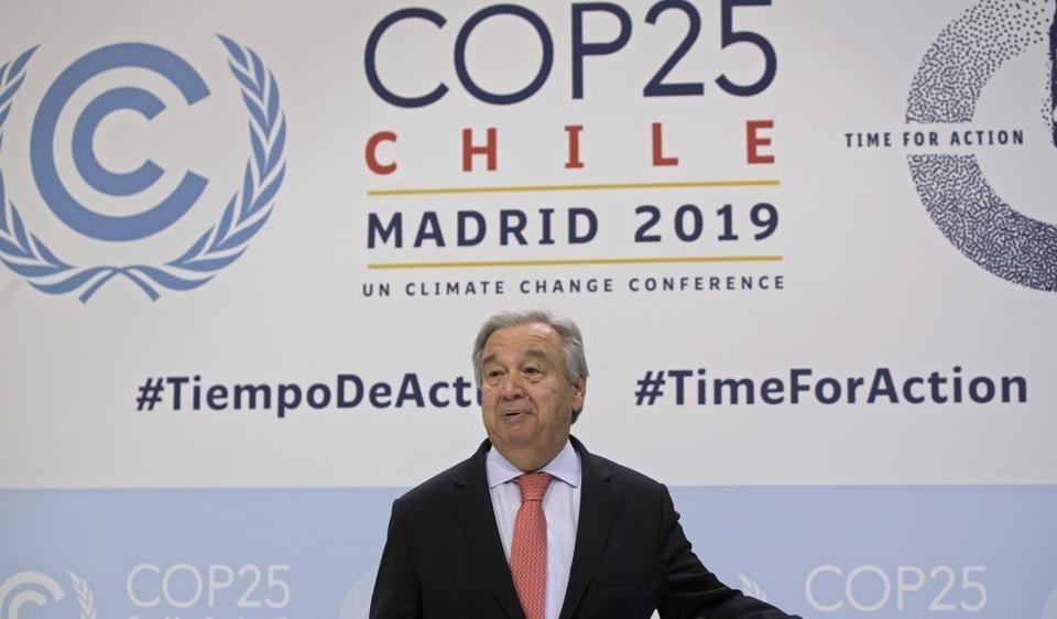 UN Secretary-General Antonio Guterres at the COP25 summit in Madrid, Spain, December 1, 2019